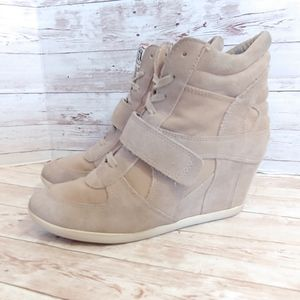 ASH limited Bowie wedge sneakers in tan suede